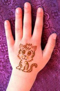 Cat Modern Mehndi Designs for Kids